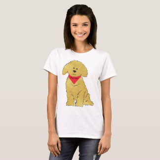 Cute Personalized Cartoon Goldendoodle Puppy T-Shirt