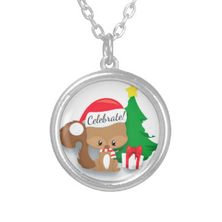 Cute Personalized  Christmas Squirrel and Tree Silver Plated Necklace
