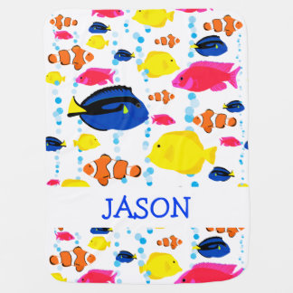 Cute Personalized Colorful Tropical Fish Baby Blanket