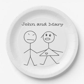 Cute Personalized Couple Stick Figure Paper Plates
