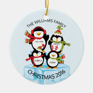 CUTE Personalized Family Of 4 Penguins Christmas Round Ceramic Ornament