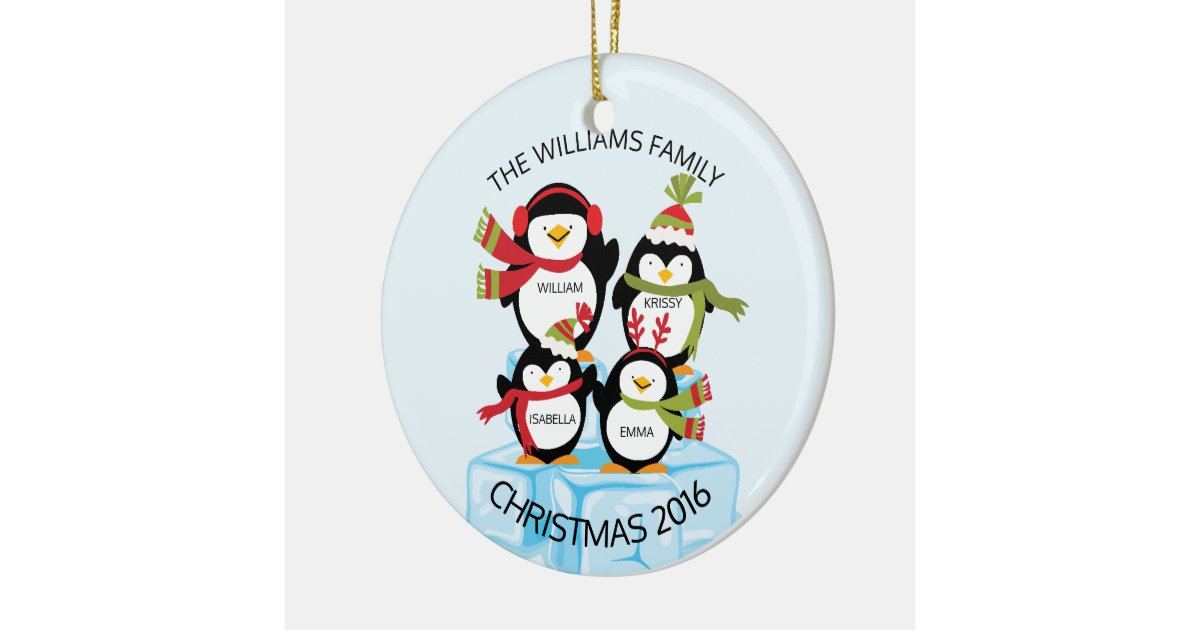 Cute personalized family of 4 penguins christmas round for Family of 4 christmas ornament
