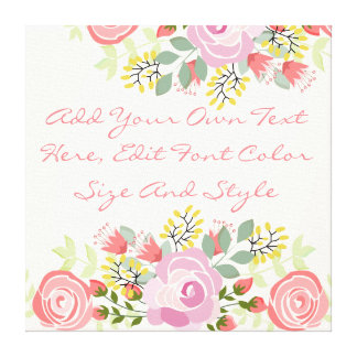 Cute personalized floral canvas print