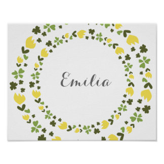 Cute personalized floral wreath in yellow & green poster