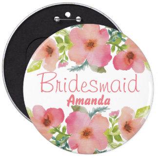 Cute personalized flourish team bride 6 inch round button