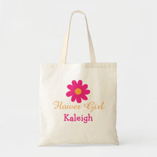 Cute Personalized Flower Girl Tote Bag