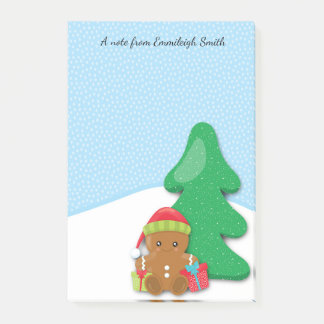 Cute Personalized Gingerbread Baby and Christmas Post-it Notes