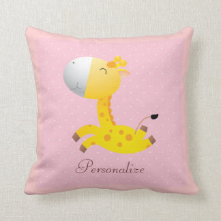 Cute Personalized Giraffe Pink Throw Pillow