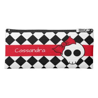 Cute personalized girly skull design pencil case