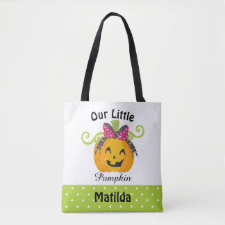 Cute Personalized Halloween Pumpkin Tote Bag