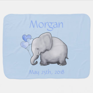 Cute Personalized Heart Balloons Elephant Baby Baby Blanket