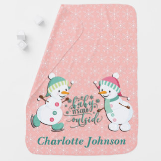 Cute Personalized Holiday Snowmen Baby Blanket