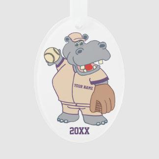 Cute Personalized Kids Baseball Hippo Ornament