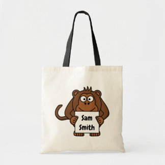 Cute personalized kids monkey tote