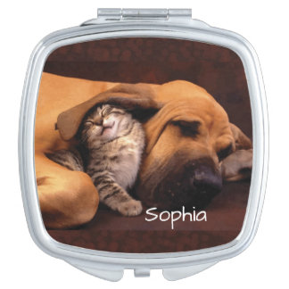 Cute Personalized Kitten and Dog Compact Mirror