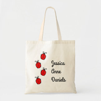 Cute personalized ladybug tote