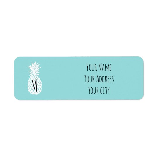 cute personalized monogram pineapple return address label