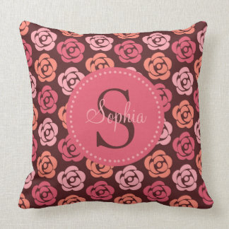 Cute Personalized Monogram Pink and Peach Floral Throw Pillow