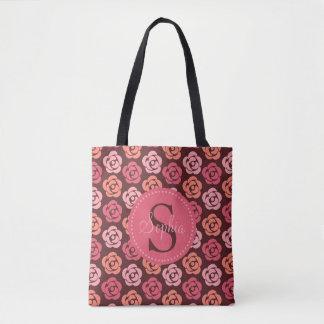 Cute Personalized Monogram Pink Maroon Floral Tote Bag
