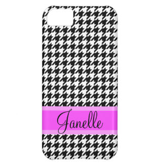 Cute Personalized Name Black and White Houndstooth Cover For iPhone 5C