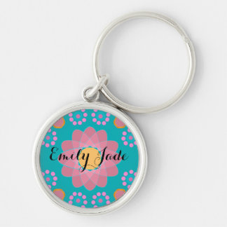 Cute Personalized Orange Pink Teal Flowers Silver-Colored Round Keychain