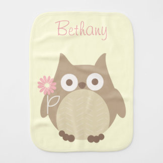 Cute Personalized Owl Baby Girl Burp Cloth