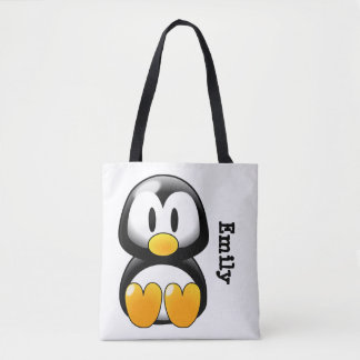 Cute Personalized Penguin on White Tote Bag