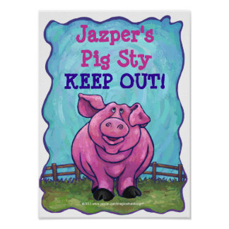 Cute Personalized Pig Sty Room Poster
