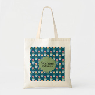 Cute Personalized Pink and Peach Flowers on Blue Tote Bag