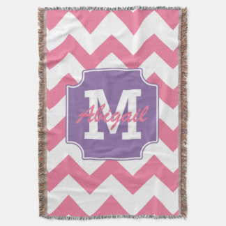 Cute Personalized Pink and Purple Chevron Print Throw