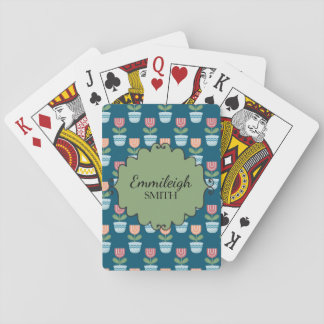 Cute Personalized Pink Flowers in Blue Flowerpots Playing Cards
