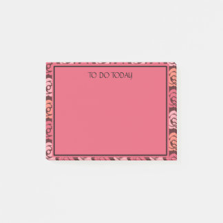 Cute Personalized Pink Maroon Floral To Do List Post-it Notes