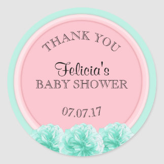 Cute Personalized Pink Mint Green Baby Shower Girl Round Sticker