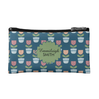 Cute Personalized Pink Peach Flowers in Blue Pots Makeup Bag