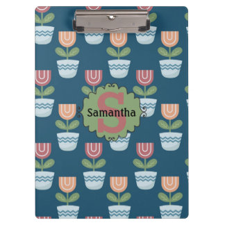 Cute Personalized Pink Peach Flowers on Blue Clipboard