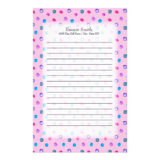 Cute Personalized Pink Purple Blue Dots on Pink Stationery