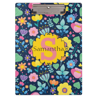 Cute Personalized Pink Yellow Blue Green Floral Clipboard