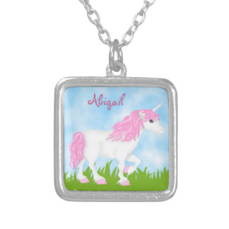 Cute Personalized Pretty Pink and White Unicorn Silver Plated Necklace