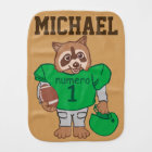 Cute Personalized Raccoon Football Player Burp Cloth