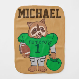 Cute Personalized Raccoon Football Player Burp Cloth