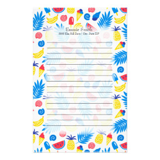Cute Personalized Red Blue Yellow Summer Theme Stationery