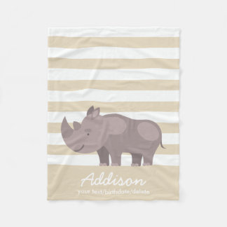 Cute Personalized Rhinoceros Jungle Tan Stripe Fleece Blanket