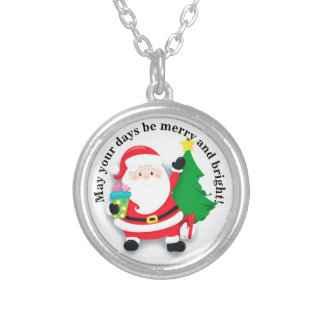 Cute Personalized Santa Claus & Gifts Merry Bright Silver Plated Necklace
