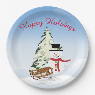 Cute Personalized Snowman Paper Plate - 9 inch 9 Inch Paper Plate