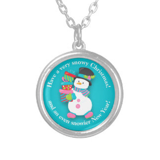Cute Personalized Snowy Christmas Snowman & Gifts Silver Plated Necklace