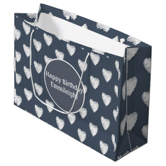 Cute Personalized White Hearts Navy Blue Large Gift Bag