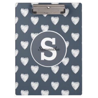 Cute Personalized White Hearts Navy Blue Monogram Clipboard