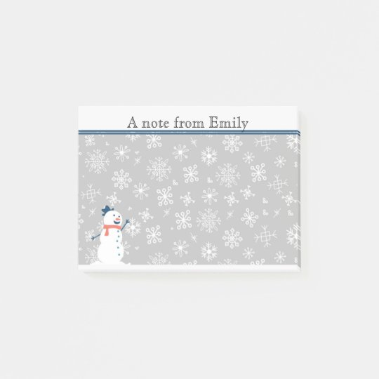 Cute Personalized Winter Snow / Snowman Post it Post-it® Notes