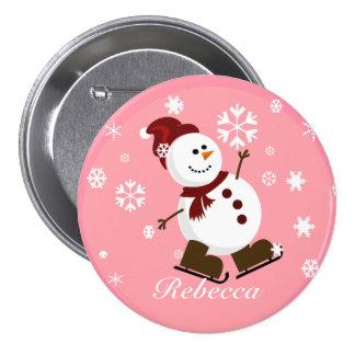 Cute Personalized Xmas Snowman Pin