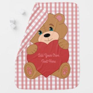Cute personlized teddy bear and heart stroller blankets